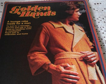 1972 Golden Hands Magazine-Part 53 Vol.4~Male Lounge Robe-Poncho and Cap-Hand Bag Cover-Royal Pair to Make