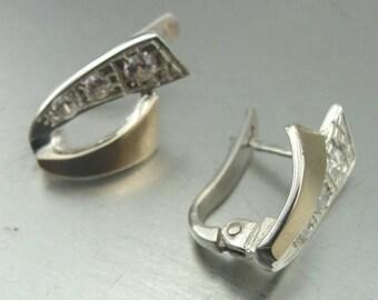 New Israel handmade 9K Yellow Gold & 925 Sterling Silver white cz stud Earrings (s e 1196)
