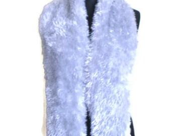 Vintage Fuzzy scarf Shaggy scarf  Silver scarf Vintage Shaggy Fuzzy scarf Winter scarf Fall scarf
