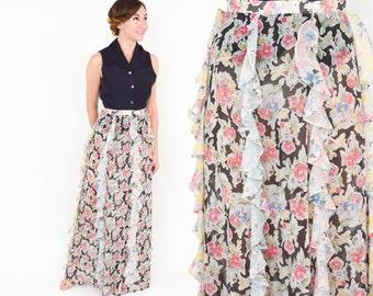 70s Ruffle Floral Print Maxi Skirt | Shear Flowered Long Skirt | Sequel I |  Small