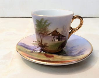 Vintage Hand Painted Japanese Cup and Saucer with Water Buffalo