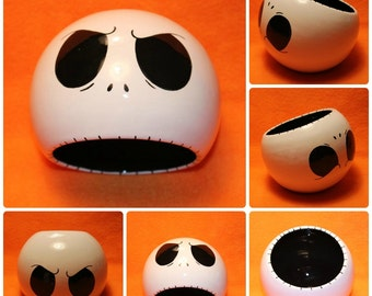 Jack Skellington Ceramic Tilted Bowl (Made to Order and Customizable)