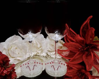 CHRISTMAS Beaded Wine Glass Set of 2 -Candy Canes & Crystals-Hand Beaded- Holiday Gifts -Holiday Decor-Couture Inspired- Xmas-Hostess Gift