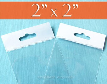 """500,  2 x 2 Inch HANG TOP Clear Self Adhesive Cello Bags  for Jewelry Display or Beads  (2"""" x 2"""")"""