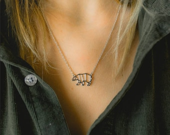 Mama Bear Necklace Silver and Gold