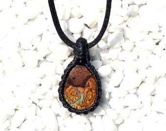 Boulder opal pendant, macrame pendant