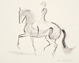 """Horse Painting,Dressage, Original Watercolor by Anna Noelle Rockwell, """"Passage Today"""""""