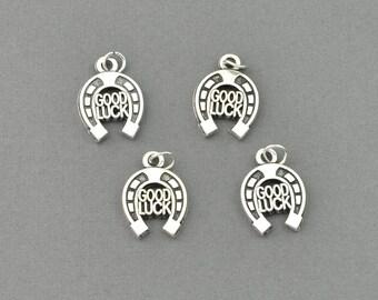 Antique Silver Tone Good Luck Horse Shoe Charm (AS00-0034)