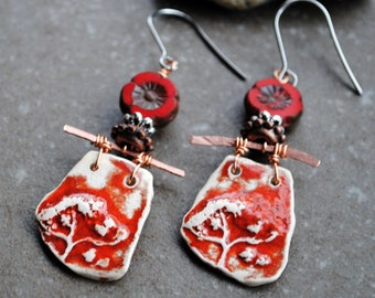 Artisan Ceramic Earrings, Handmade earrings, Primitive earrings, Gypsy Earrings, Bohemian earrings, boho jewelry, rustic earrings, Flower
