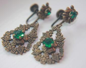 Art Deco Green Glass & Brass Earrings