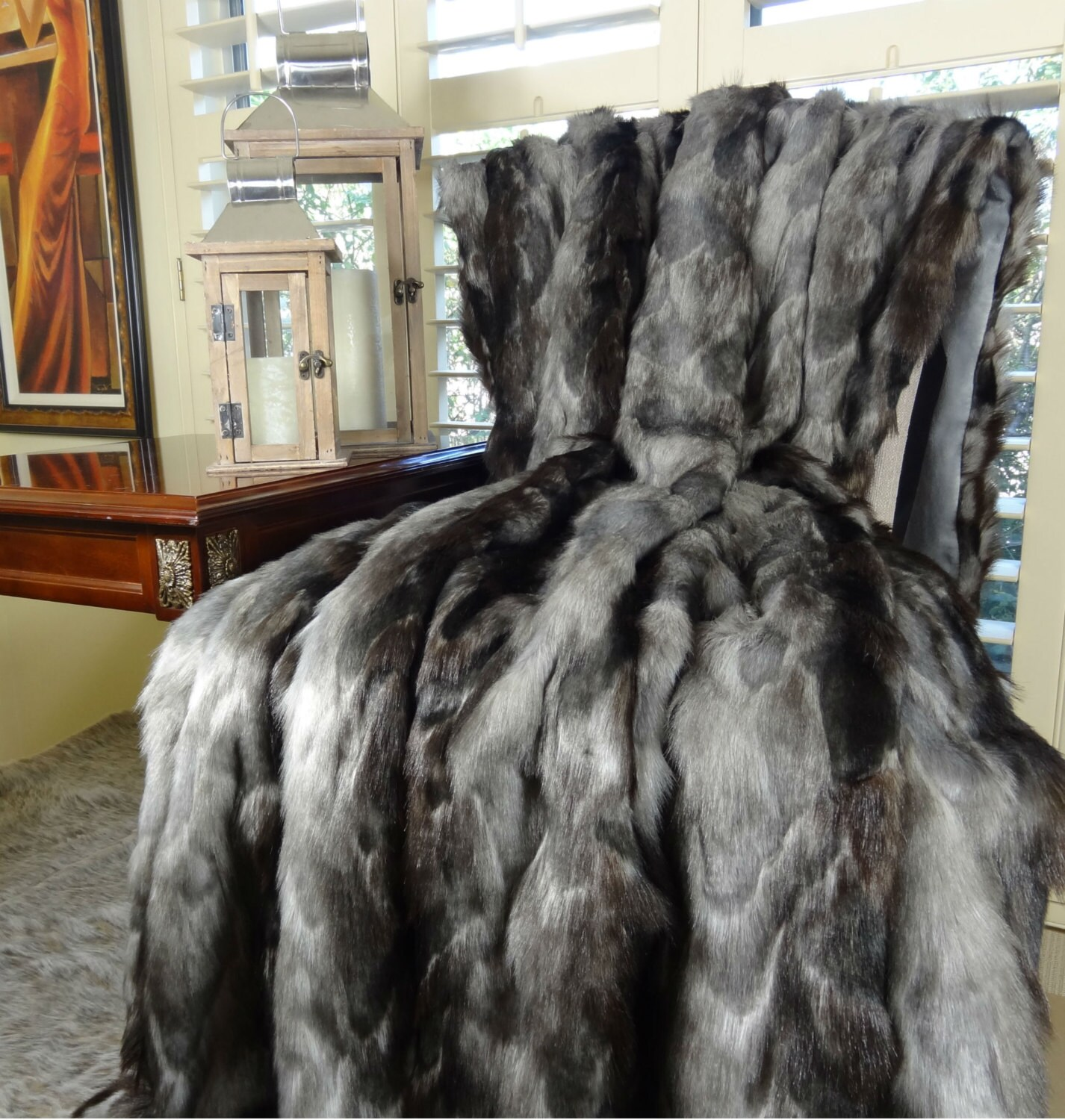 BACK IN STOCK Exotic Gray Fox Faux Fur Throw Blanket &
