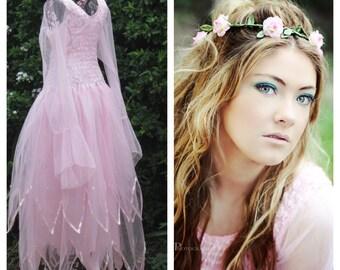 Elite Fairy Godmother Glinda Womens Tulle Costume ~ Flower Crown ~ Halloween  ~ Theatre ~ Fairytale Wedding