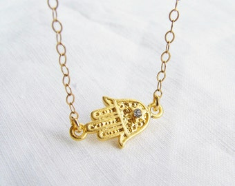 Sideways Gold Hamsa Necklace. 22K Gold Plated Lucky Charm with 14K Gold Filled Chain. Simple Modern jewelry by PetitBlue