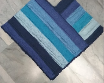 Knit blue poncho with Picot edge