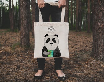 Panda tote bag. Cotton rock panda tote bag. Let's rock this day market bag