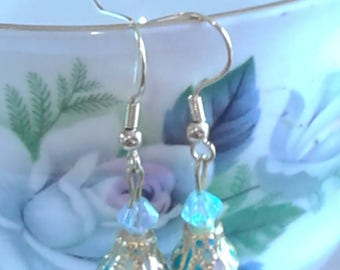 Victorian Blue & White Glass Earrings