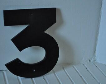 """Vintage sign number """"3"""""""