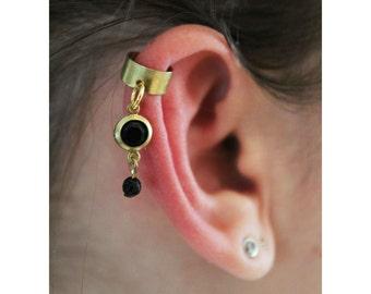 Black gold ear cuff, Black rhinestone ear cuff, Dainty ear cuff, No piercing ear cuff, Cartilage earring, cartilage ear cuff Dangle ear cuff