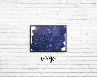 Zodiac Constellation 5x7 prints - Virgo, Libra, Scorpio, Sagittarius, Capricorn, Aquarius, Pisces, Aries, Taurus, Gemini, Cancer, Leo