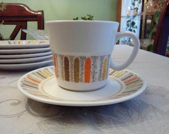 Vintage Noritake MARDI GRAS Cups & Saucers set 6