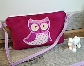"Pocket Moon, my first ""OWL"" suede handbag / wallet child, girl"