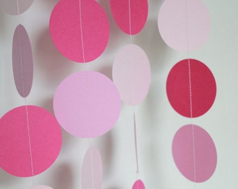Baby Shower Decorations, Paper Garland, party supply, birthday party, decor,  5 Feet Long . Pink