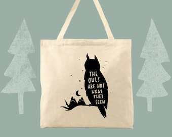 owls are not what they seem tote twin peaks themed cotton canvas tote bag