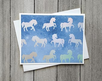 Unicorn Card, Birthday Card, Card For Her, Girls Birthday Card, Silver Unicorns, Magical Birthday