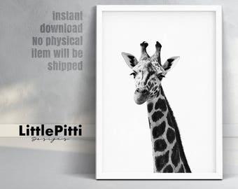 Giraffe animal print, african animal, kids printable art, animal wall art, giraffe decor, giraffe wall art, giraffe poster, giraffe nursery