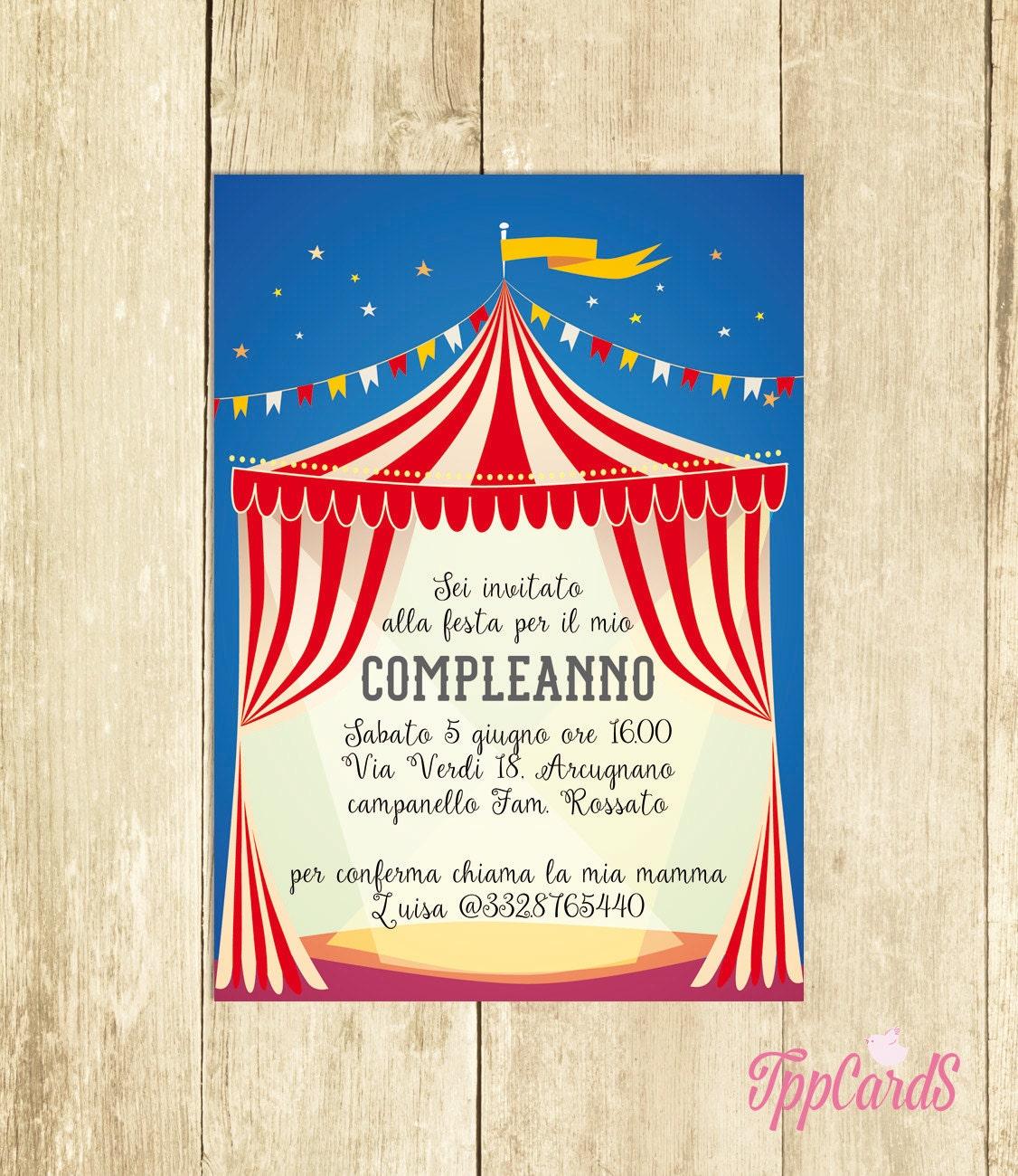 Amato Invito Compleanno Circo Rosso Invito Festa Compleanno Invito XD06
