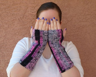 Surprize Stripes Fingerless Gloves in Pink Black and Grey for Women. Crochet, Striped Fingerless Gloves Arm Wrist Warmers MADE TO ORDER