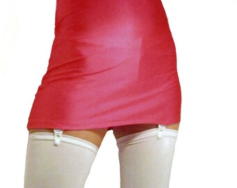 High waisted red shiny spandex mini skirt white suspenders