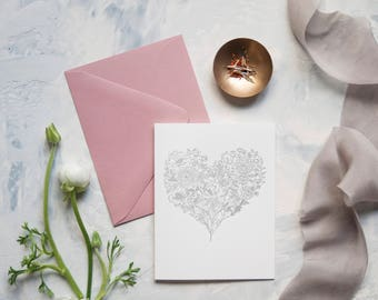 A2 Flower Valentine's Day Heart Letterpress Cards-Box of 5