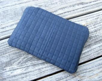 Zipper Pouch Clutch in Navy Blue Dark Blue