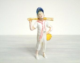 "Vintage Hartland bat boy or Little Leaguer figure, 1960s white plastic toy baseball figurine, 5"" sports collectible cake topper model"