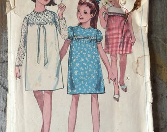 Vintage Simplicity Sewing Pattern 6379 Girls' and Chubbies' One Piece Dress Size 14
