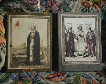 """Ancient Russian Icon Antique Lithography """"Old Believers"""" set early 20 c. Russian orthodox."""