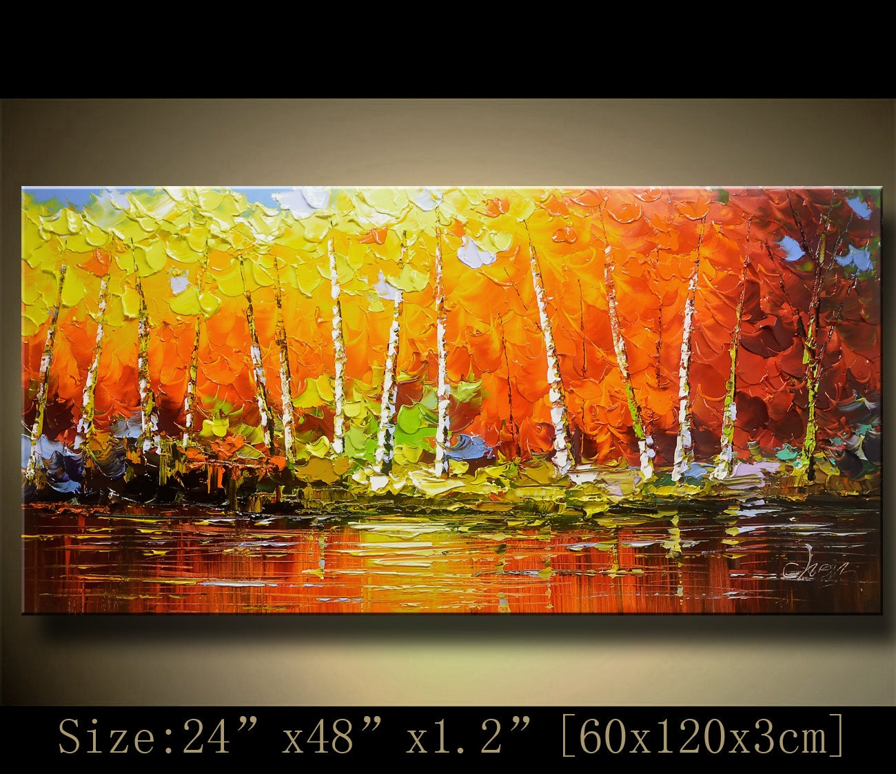 contemporary wall art Palette Knife Paintingcolorful tree