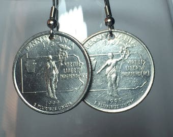 1999 Pennsylvania Quarter Earrings Free Gift Bag 19 Year Anniversary 19th Birthday Birthplace Birth State