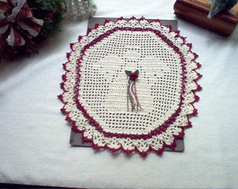Victorian Angel Filet Crochet Handmade Thread Art Doily