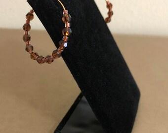 Topaz Swarovski Crystal with Amber Hoop Earrings