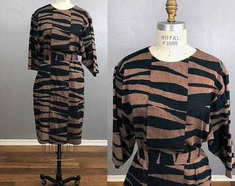 Vintage Brown and Black 80s Batwing Belted Dress Kimono Sleeve Size 10 Medium M Batwing Dress