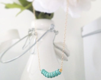 Green Turquoise Magnesite Beaded Necklace | Gold Filled Chain
