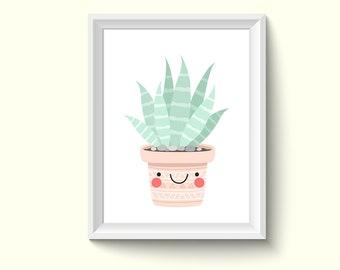 Cactus Painting Drawing Art Print N504