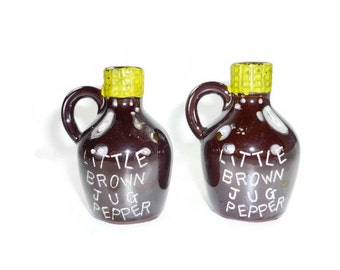 Vintage Little Brown Jug Pepper Shakers
