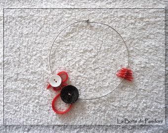 Red, black and white torque necklace