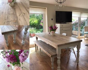Farmhouse dining table with reclaimed wood top, bench and 4 chairs. made to measure custom, shabby chic farrow & ball painted 6 or 8 seater