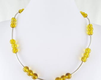 Honey (Citrine Glass Rounds & Silver Plate Curved Spacer Tubes Necklace)