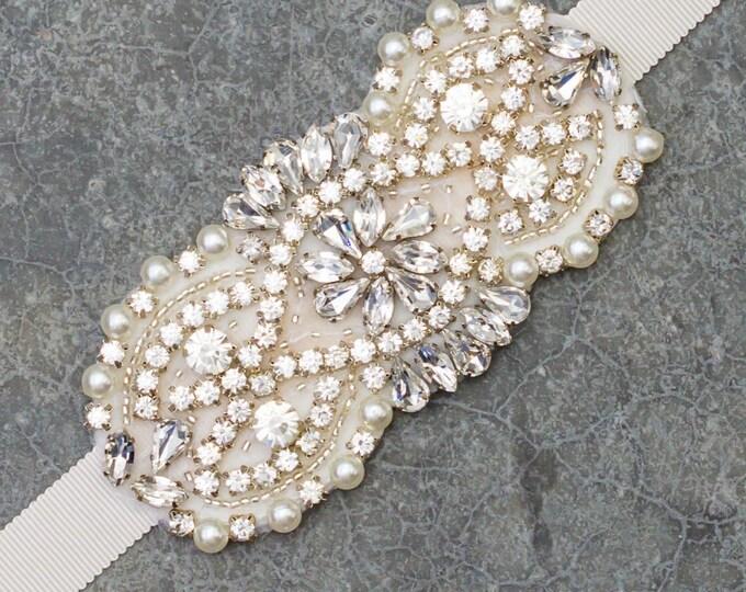 Pearl Crystal Grosgrain Ribbon Belt vory Wedding Dress Bridal Bride Accessory Off-White Bling Handmade 378