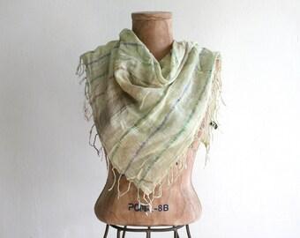 Indian Cotton Gauze Metallic Light Green Scarf